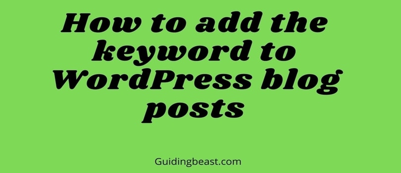 How to add the keyword to WordPress blog posts